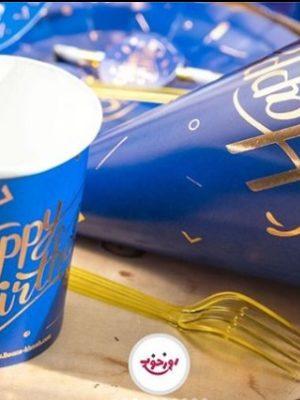 لیوان کاغذی آبی طلا کوب