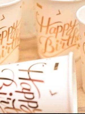 لیوان تولد سفید طلا کوب