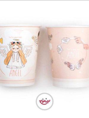 لیوان کاغذی تم فرشته های مهربون