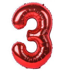 بادکنک فویلی عدد سه قرمز